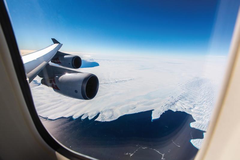 Blick auf die Antarktis mit Antarctica Flights