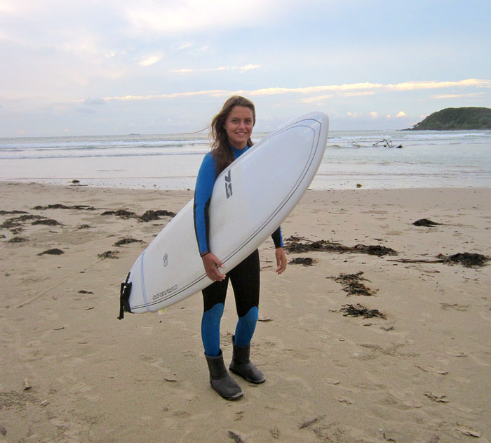 zurück vom Surfen