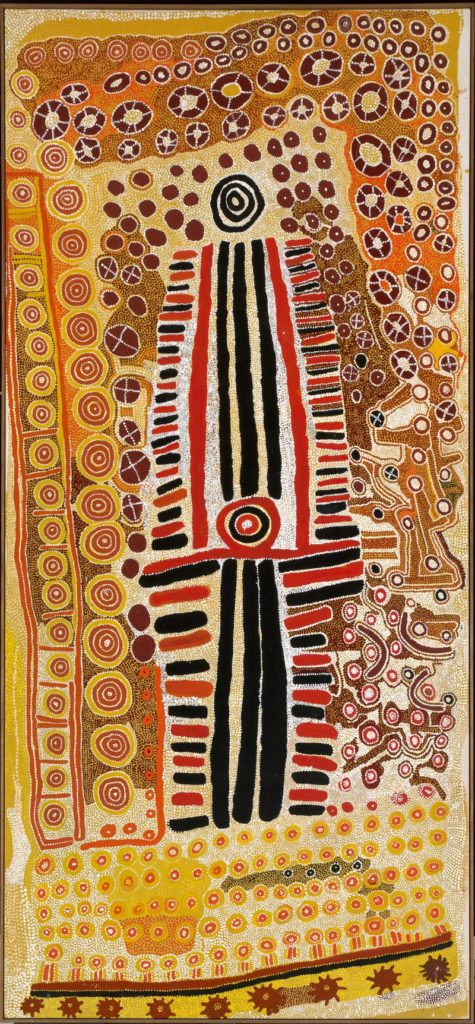 Paddy Jupurrurla Nelson, Paddy Japaljarri Sims, Kwentwentjayn Jungurrayi Spencer, Yanjilypiri Jukurrpa (Star Dreaming), 1985, synthetic polymer paint on canvas, 372 x 171,4 cm, National Gallery of Australia, Canberra, © the artist, VG Bild-Kunst, Bonn 2017